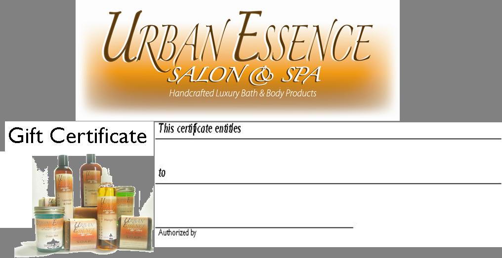 Urban Essence Salon Spa Gift Certificate